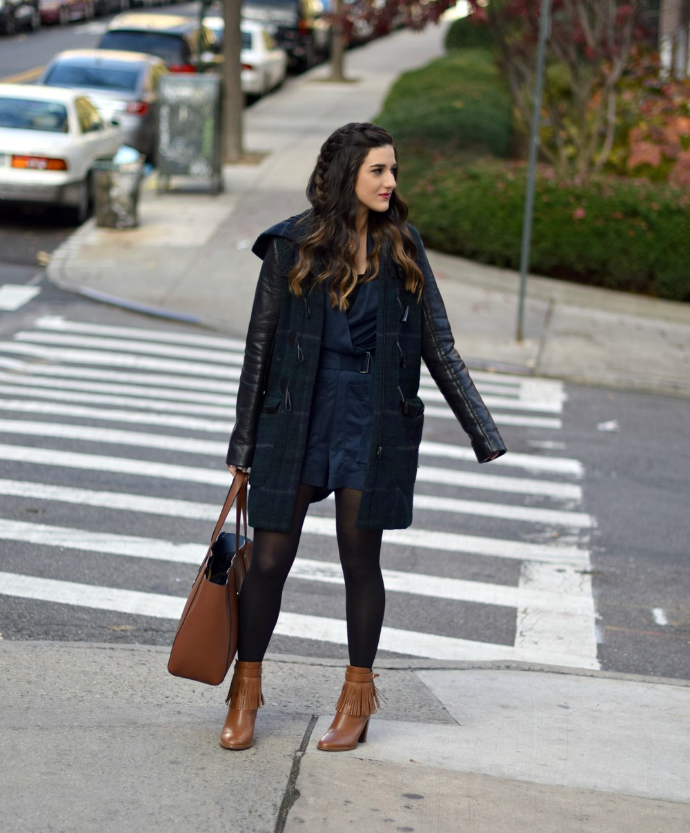 Navy Romper Fringe Booties Louboutins & Love Fashion Blog Esther Santer NYC Street Style Blogger Zara Plaid Coat Leather Sleeves Girl Women OOTD Outfit Soho Tote Ivanka Trump Accessories Shoes Boots Winter Black Tights Braid Hair Inspo Jewelry Rings.jpg