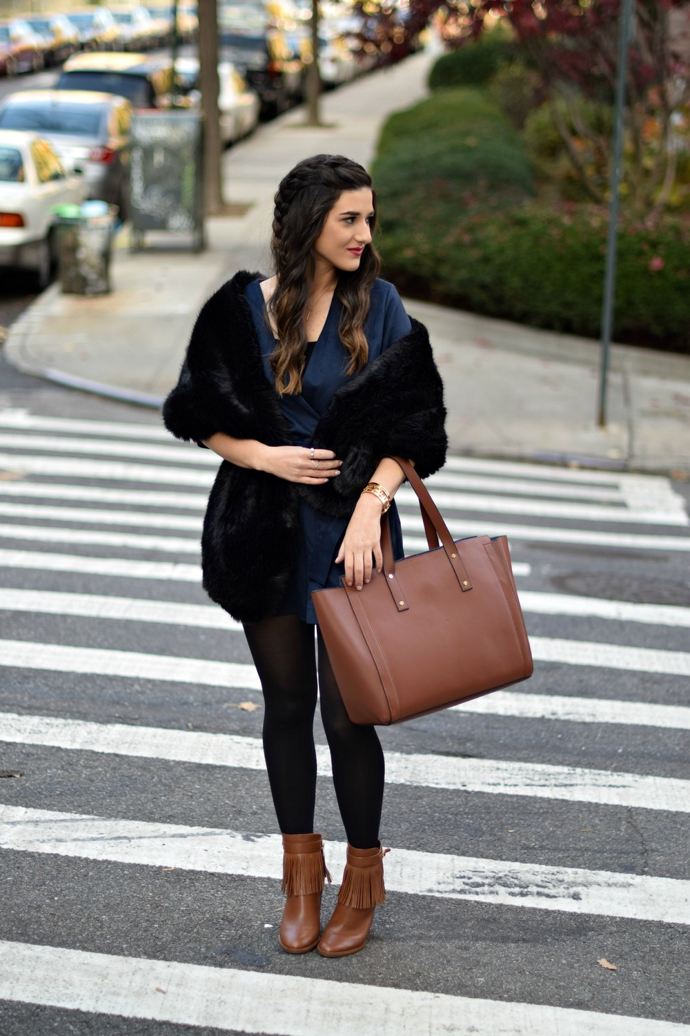 Navy Romper Fringe Booties Louboutins & Love Fashion Blog Esther Santer NYC Street Style Blogger Zara Plaid Coat Leather Sleeves Girl Women OOTD Outfit Soho Tote Ivanka Trump Accessories Shoes Boots Winter Black Tights Hair Braid Inspo Rings Jewelry.jpg