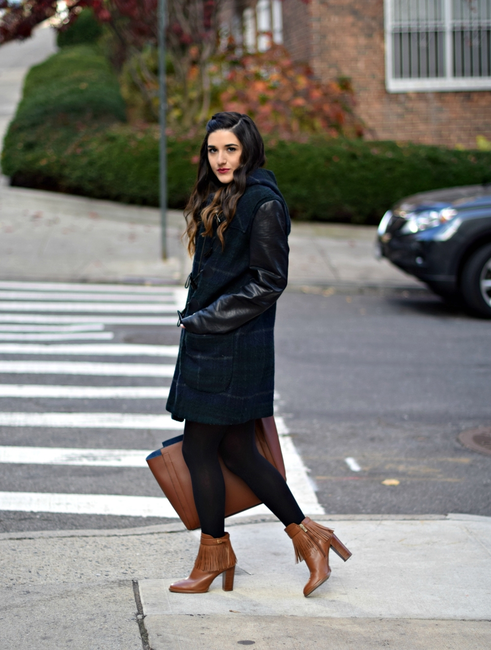 Navy Romper Fringe Booties Louboutins & Love Fashion Blog Esther Santer NYC Street Style Blogger Zara Plaid Coat Leather Sleeves Girl Women OOTD Outfit Soho Tote Ivanka Trump Accessories Black Tights Shoes Boots Winter Inspo Hair Braid Rings Jewelry.jpg