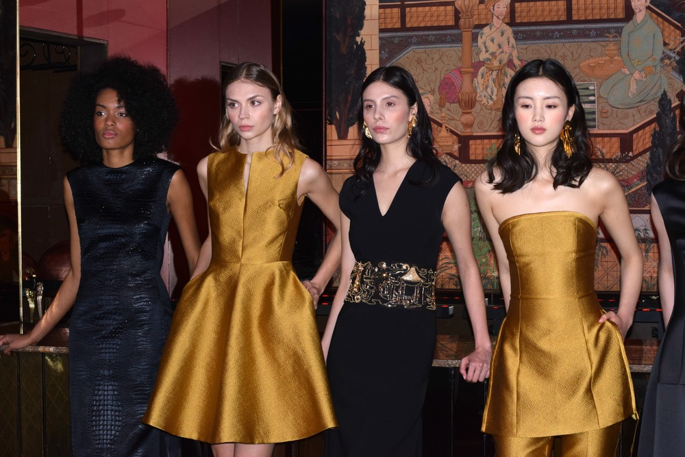 NYFW Josie Natori Fashion Presentation Fall:Winter 2016 Louboutins & Love Fashion Blog Esther Santer NYC Street Style Runway Models Collection Hair Beauty Inspo Press Event Coverage Photos Details Dress Gown Beautiful Pretty Gold Trends Gorgeous Blue.jpg