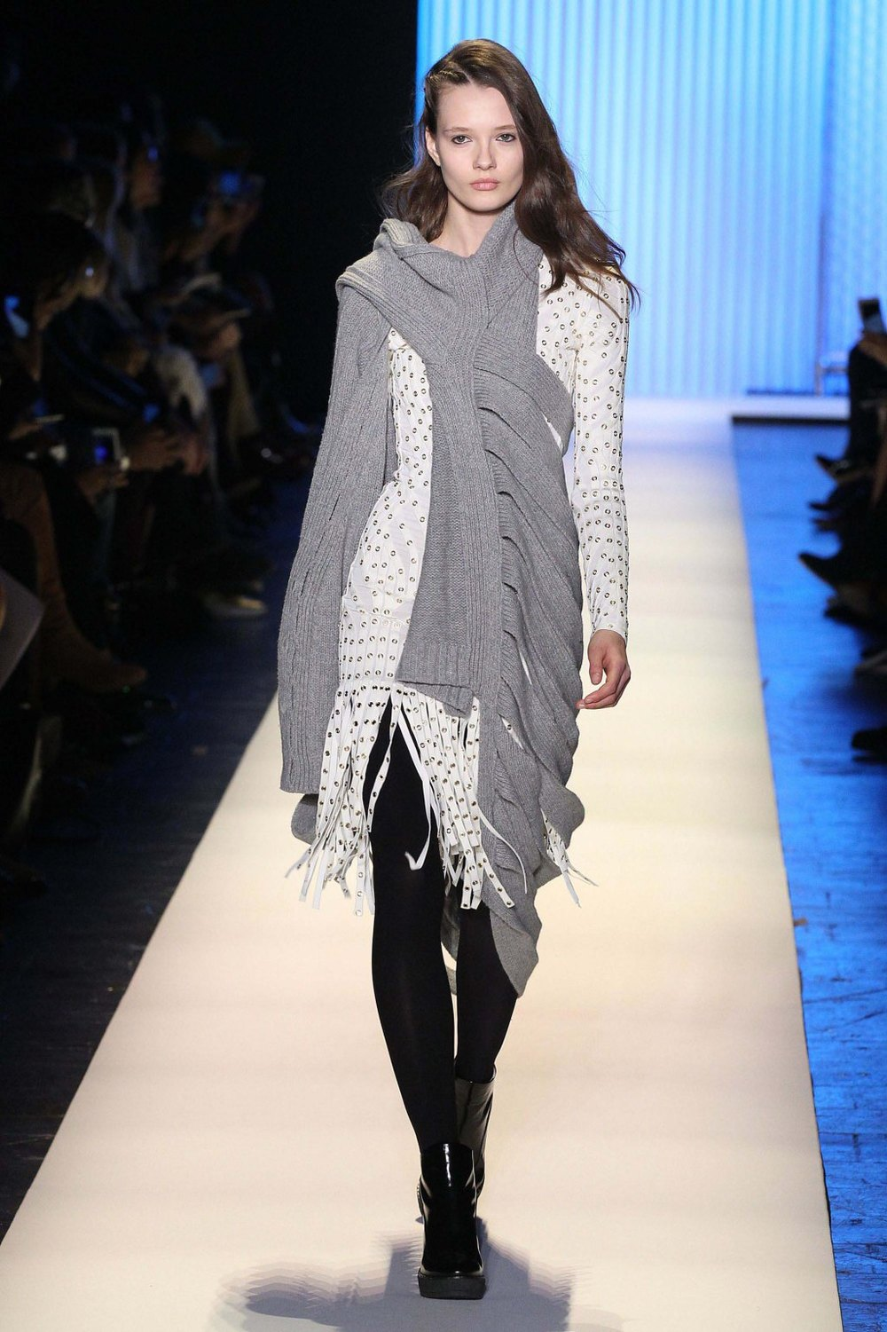 NYFW Hervé Léger Fashion Show Fall:Winter 2016 Louboutins & Love Fashion Blog Esther Santer NYC Street Style Models Collection Hair Makeup Bandage Dresses Pretty Fringe Trends White Pink Inspo Press Event Coverage Details Photos Hair Jacket  Outfit .jpg