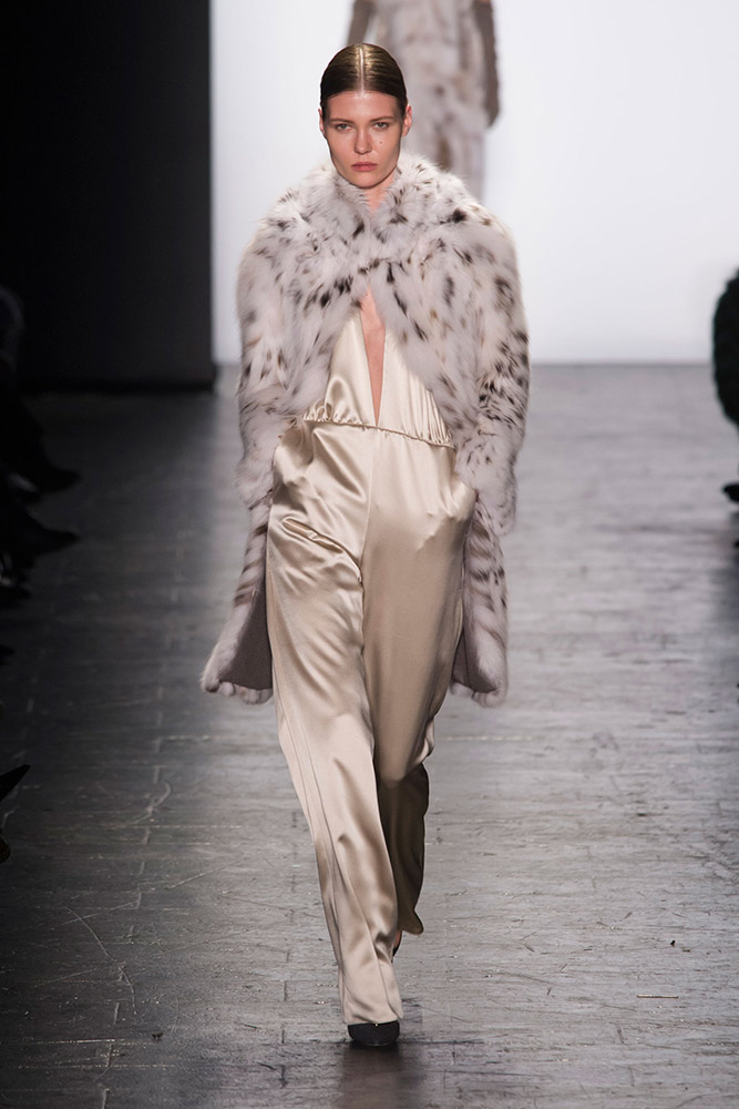 NYFW Dennis Basso Fashion Show Fall:Winter 2016 Louboutins & Love Fashion Blog Esther Santer NYC Street Style Models Collection Hair Makeup Dress Trendy Gown Pretty Runway Outfit Fur Stole Embellished Jewels Vest Metallic Jumpsuit Gold Black Coat Glam.jpg