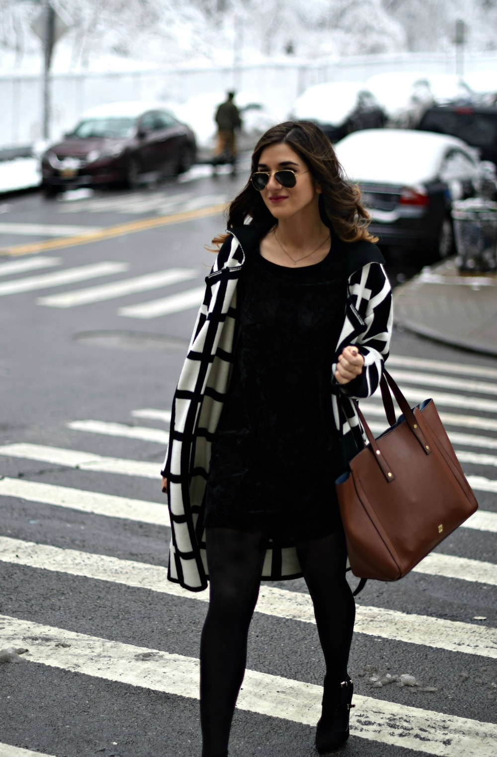 Black and White Windowpane Sweater Trescool Louboutins & Love Fashion Blog Esther Santer NYC Street Blogger Winter Wear Shop Cozy Layers Zara Black Heels Ivanka Trump Soho Tote Bag Velvet Dress OOTD Outfit Inspo Beauty Model Hair Sunglasses Photoshoot.jpg