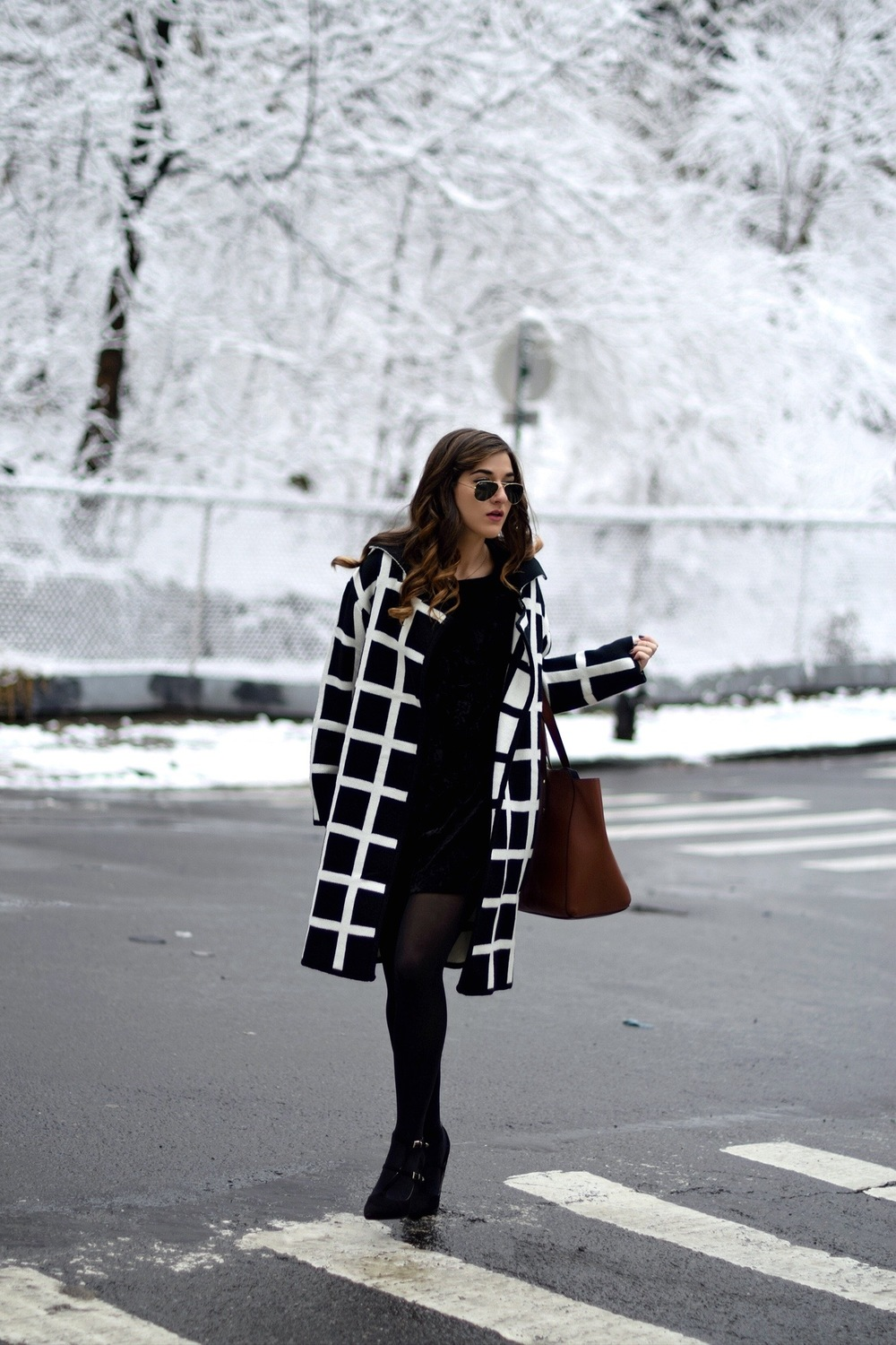 Black and White Windowpane Sweater Trescool Louboutins & Love Fashion Blog Esther Santer NYC Street Blogger Winter Wear Shop Cozy Layers Zara Black Heels Ivanka Trump Soho Tote Bag Velvet Dress Outfit Inspo OOTD Beauty Model Hair Sunglasses Photoshoot.jpg