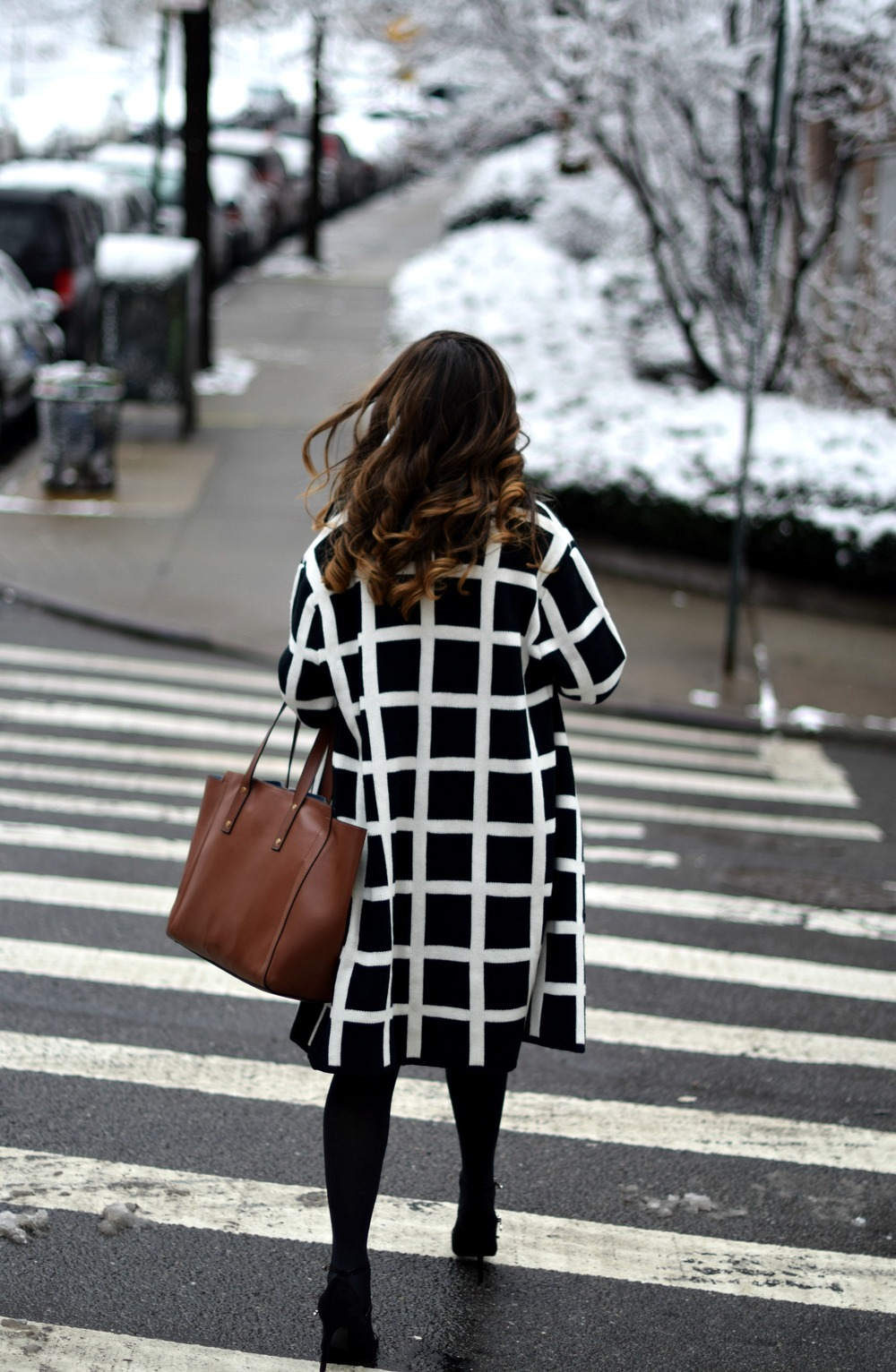 Black and White Windowpane Sweater Trescool Louboutins & Love Fashion Blog Esther Santer NYC Street Blogger Winter Wear Shop Cozy Layers Zara Black Heels Ivanka Trump Soho Tote Bag Velvet Dress Outfit Inspo OOTD Model Hair Beauty Photoshoot Sunglasses.jpg