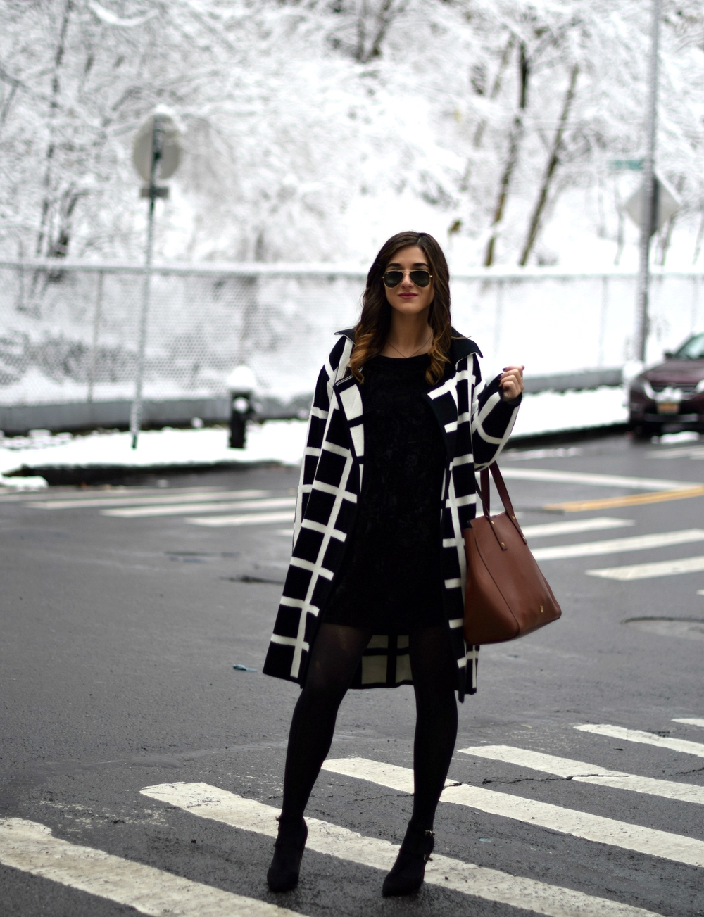 Black and White Windowpane Sweater Trescool Louboutins & Love Fashion Blog Esther Santer NYC Street Blogger Winter Wear Shop Cozy Layers Zara Black Heels Ivanka Trump Soho Tote Bag Velvet Dress Outfit Inspo OOTD Model Beauty Hair Sunglasses Photoshoot.jpg