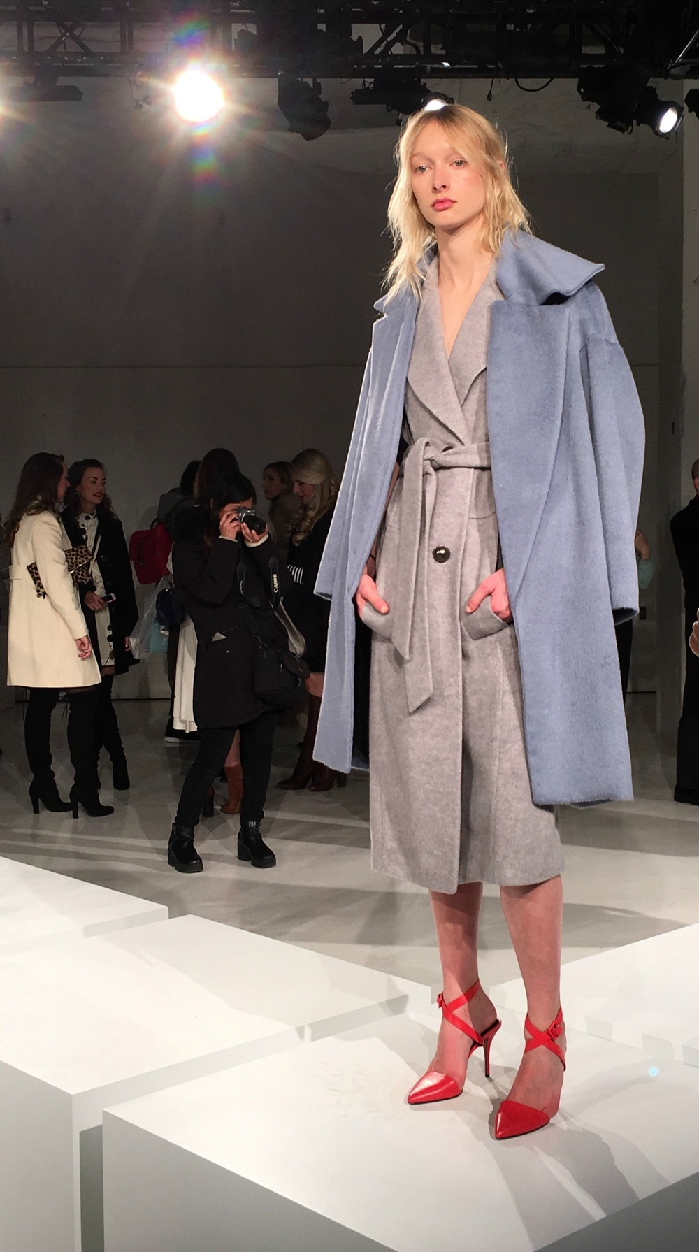 NYFW O'2nd Fashion Presentation Fall Winter 2016 Louboutins & Love Fashion Blog Esther Santer NYC Street Style Models Collection Hair Trends Pretty Inspo Press Event Coverage Photos Details Blue Coat Button Down New York City Dress Fur Grey Red Heels.jpg