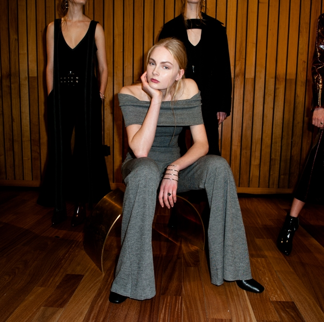NYFW Beaufille Fashion Presentation Fall:Winter 2016 Louboutins & Love Fashion Blog Esther Santer NYC Street Style Models Modern  Collection Hair Trends Pretty Inspo Event Details Photos Shoes Outfit Bell Bottoms Pants Sweater Skirt Coat Black Grey.jpg