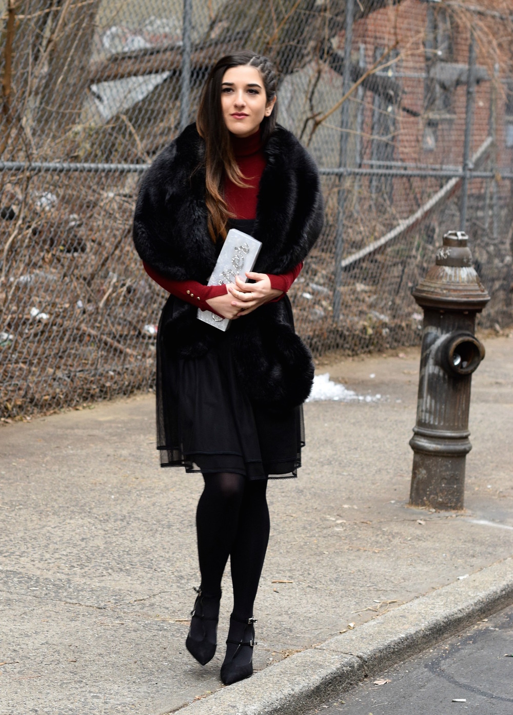 Red Turtleneck Under Strapless Dress Louboutins & Love Fashion Blog Esther Santer NYC Street Style Blogger Black Tights Name Monogrammed Clutch Hair Beautiful Inspo Model Photoshoot Zara Shoes Heels Outfit OOTD Women Girl Shopping Winter New York City.jpg