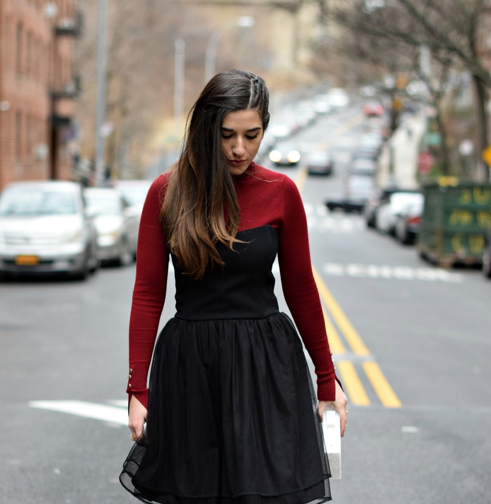 Red Turtleneck Under Strapless Dress Louboutins & Love Fashion Blog Esther Santer NYC Street Style Blogger Black Tights Name Monogrammed Clutch Hair Beautiful Inspo Model Photoshoot Shoes Heels Zara Outfit OOTD Girl Women Shopping Winter New York City.jpg