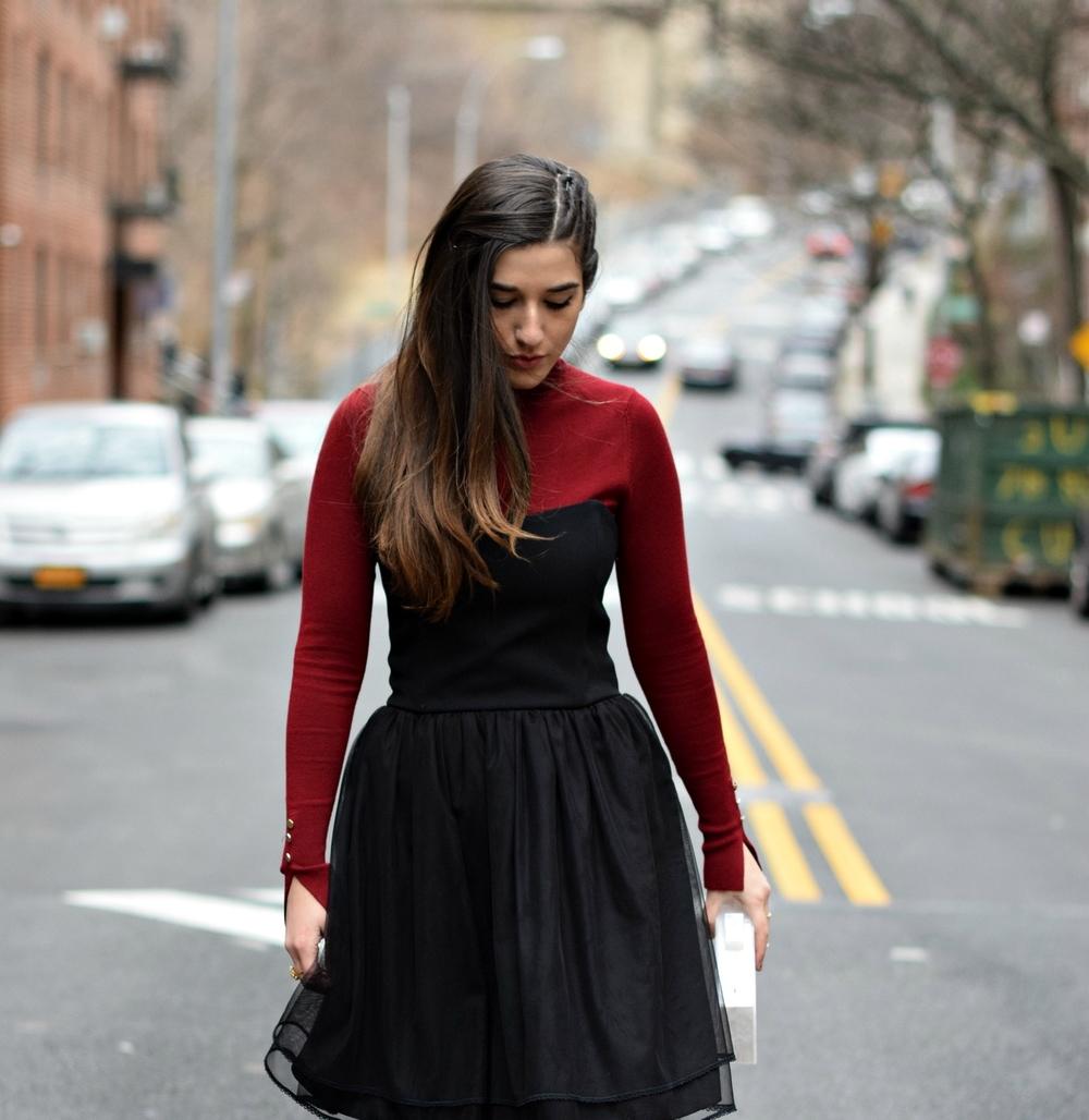 Red Turtleneck Under Strapless Dress — Esther