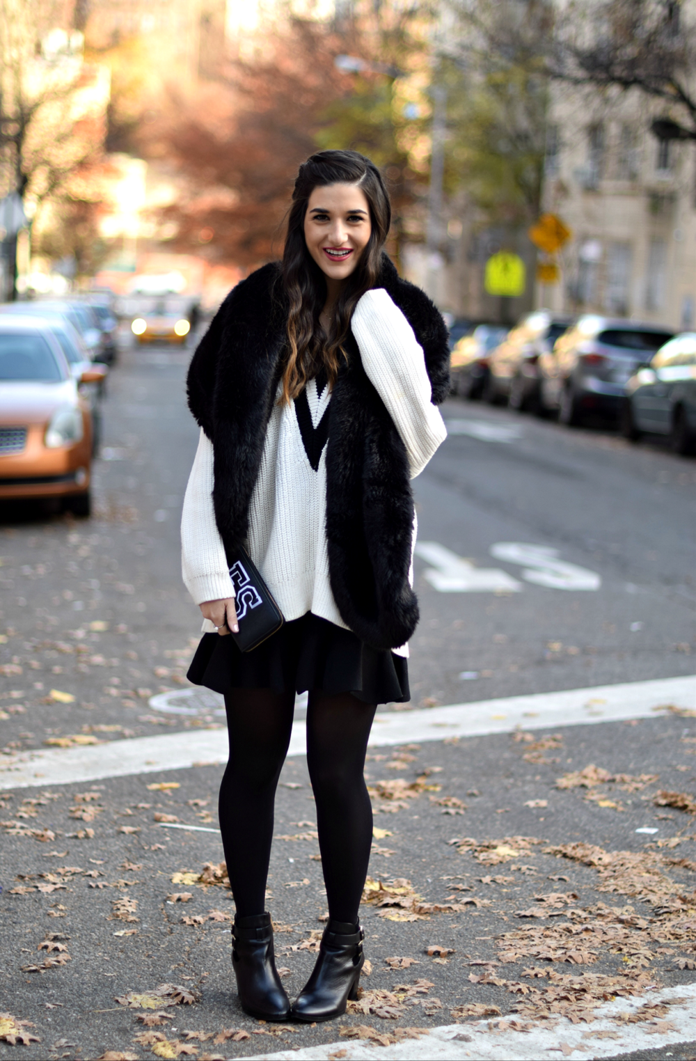 Chunky Varsity Knit Fur Stole Louboutins & Love Fashion Blog Esther Santer NYC Street Style Blogger Sweater Girl Women Photoshoot Model Shoes Black Booties Louise et Cie Nordstrom Hair Swag H&M Mini Skirt Neutrals OOTD Outfit Tights Shop Winter Wear.jpg