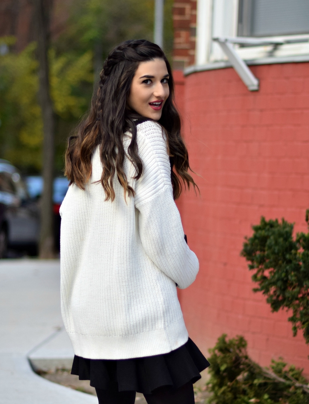 Chunky Varsity Knit Fur Stole Louboutins & Love Fashion Blog Esther Santer NYC Street Style Blogger Sweater Girl Women Photoshoot Model Shoes Black Booties Louise et Cie Nordstrom H&M Hair Swag Outfit OOTD Mini Skirt Neutral Winter Hue Tights New York.jpg