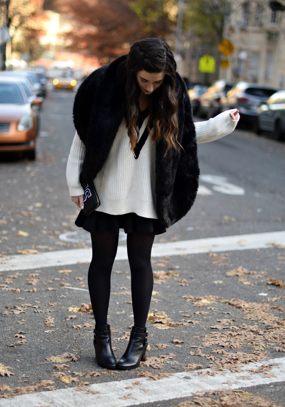 Chunky Varsity Knit Fur Stole Louboutins & Love Fashion Blog Esther Santer NYC Street Style Blogger Sweater Girl Women Photoshoot Model Shoes Black Booties Louise et Cie Nordstrom Hair Swag H&M Mini Skirt Neutrals OOTD Outfit Tights Winter Wear Shop.jpg