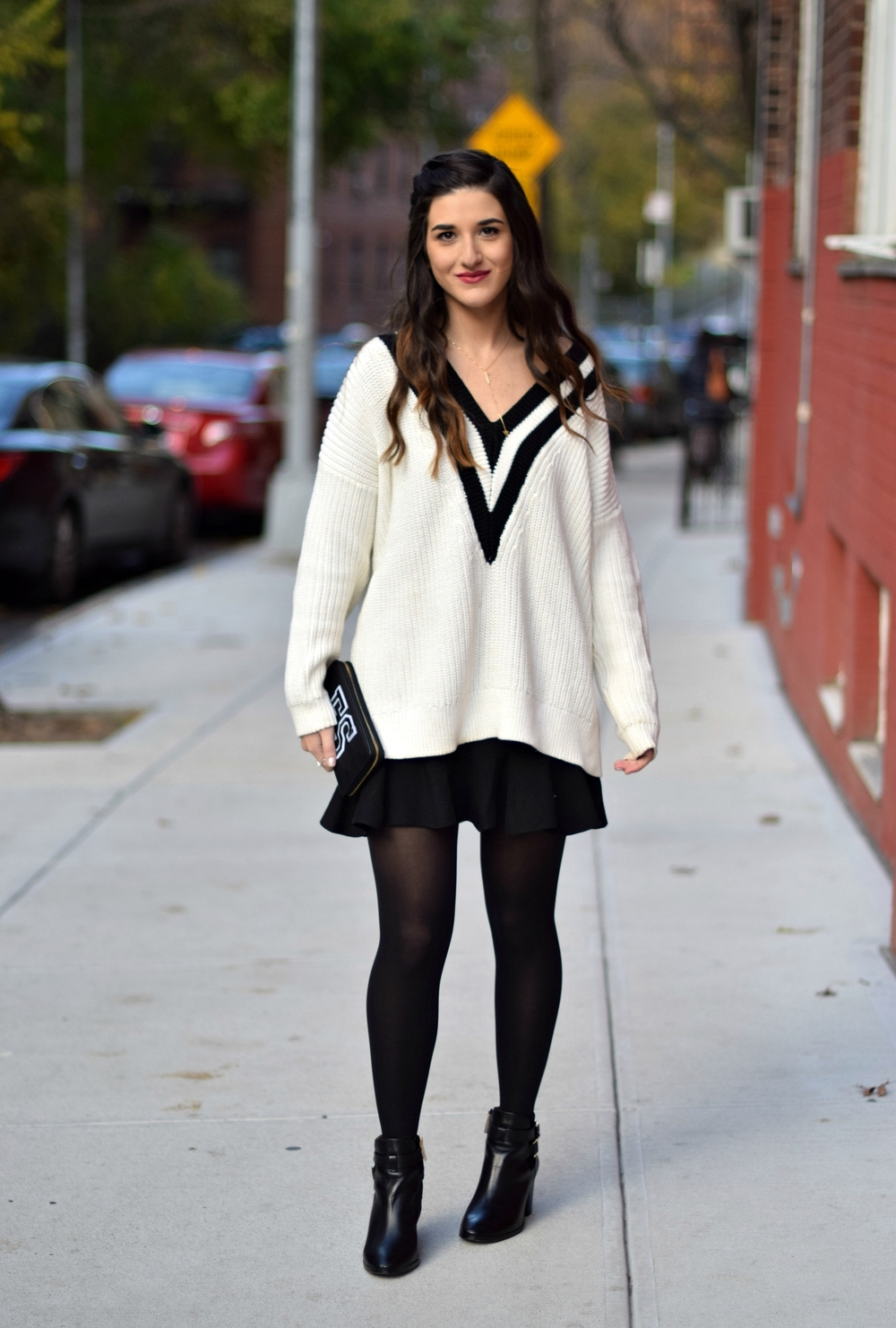 Chunky Varsity Knit Fur Stole Louboutins & Love Fashion Blog Esther Santer NYC Street Style Blogger Sweater Girl Women Photoshoot Model Shoes Black Booties Louise et Cie Nordstrom Hair Swag H&M Mini Skirt Outfit OOTD Neutral Tights Winter Wear Shop.jpg