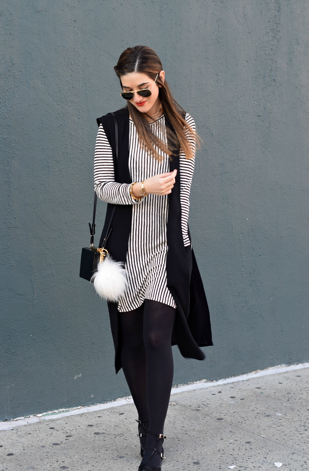 Black and White Striped Shirt Dress Long Vest Louboutins & Love Fashion Blog Esther Santer NYC Street Style Blogger RayBan Aviator Sunglasses OOTD Outfit Inspiration Inspo Girl Women Gold Jewelry Bracelets Ombre Pom Pom Choker Zara Bag Tights Heels .jpg