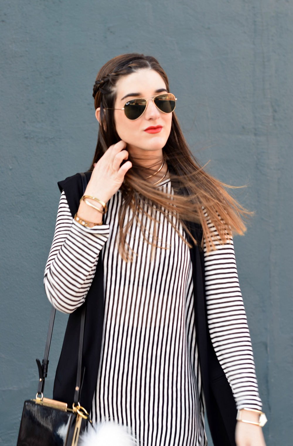 Black and White Striped Shirt Dress Long Vest Louboutins & Love Fashion Blog Esther Santer NYC Street Style Blogger RayBan Aviator Sunglasses OOTD Outfit Inspo Inspiration Girl Women Gold Jewelry Bracelets Choker Pom Pom Bag Ombre Zara Tights Heels .jpg