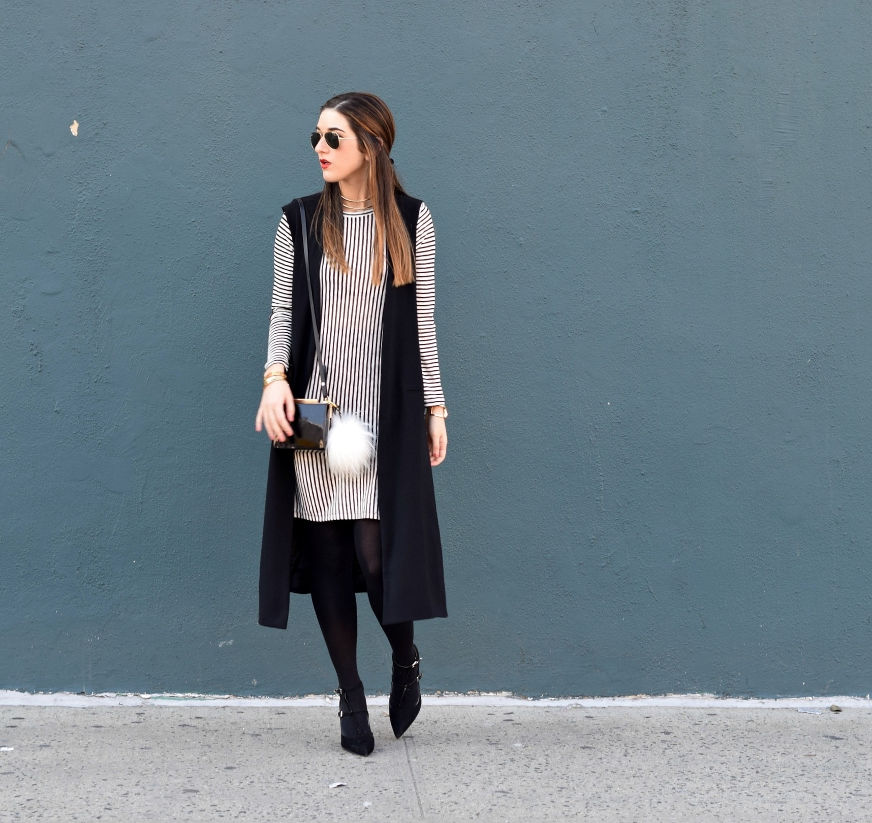 7c3f24a35a Black and White Striped Shirt Dress Long Vest Louboutins   Love Fashion  Blog Esther Santer NYC