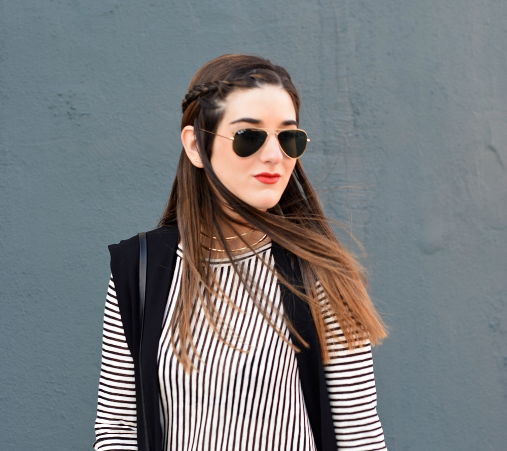 Black and White Striped Shirt Dress Long Vest Louboutins & Love Fashion Blog Esther Santer NYC Street Style Blogger RayBan Aviator Sunglasses OOTD Outfit Inspiration Inspo Girl Women Gold Jewelry Bracelets Ombre Choker Pom Pom Bag Tights Zara Heels .jpg