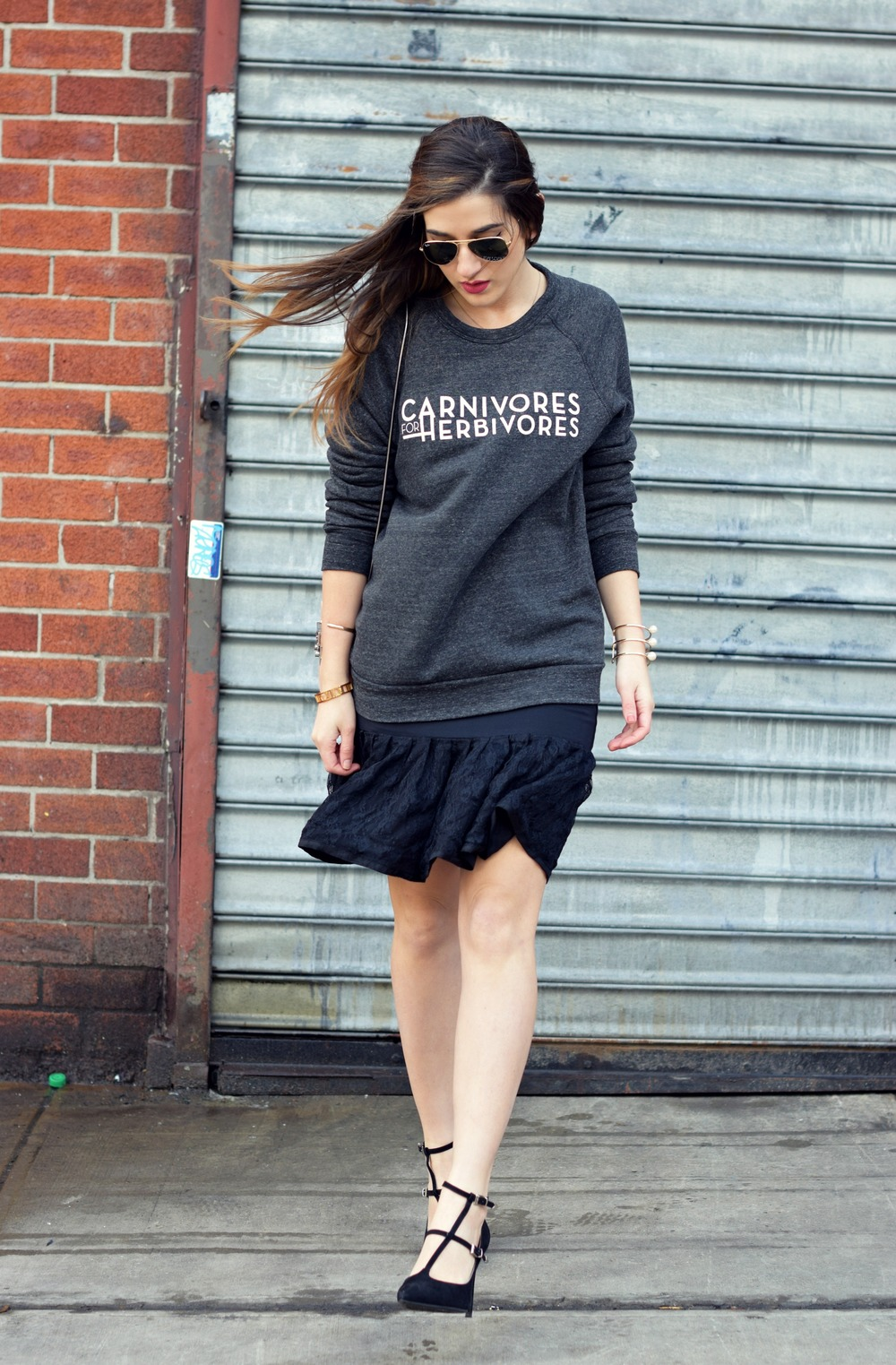 Carnivores For Herbivores Fauxgerty Louboutins & Love Fashion Blog Esther Santer NYC Street Style Blogger Animal Lover Cruelty Free Suede Vegan Leather RayBan Aviators Sunglasses Grey Sweatshirt Girl Women Lace Skirt OOTD Outfit Shop USA Hair Inspo.jpg