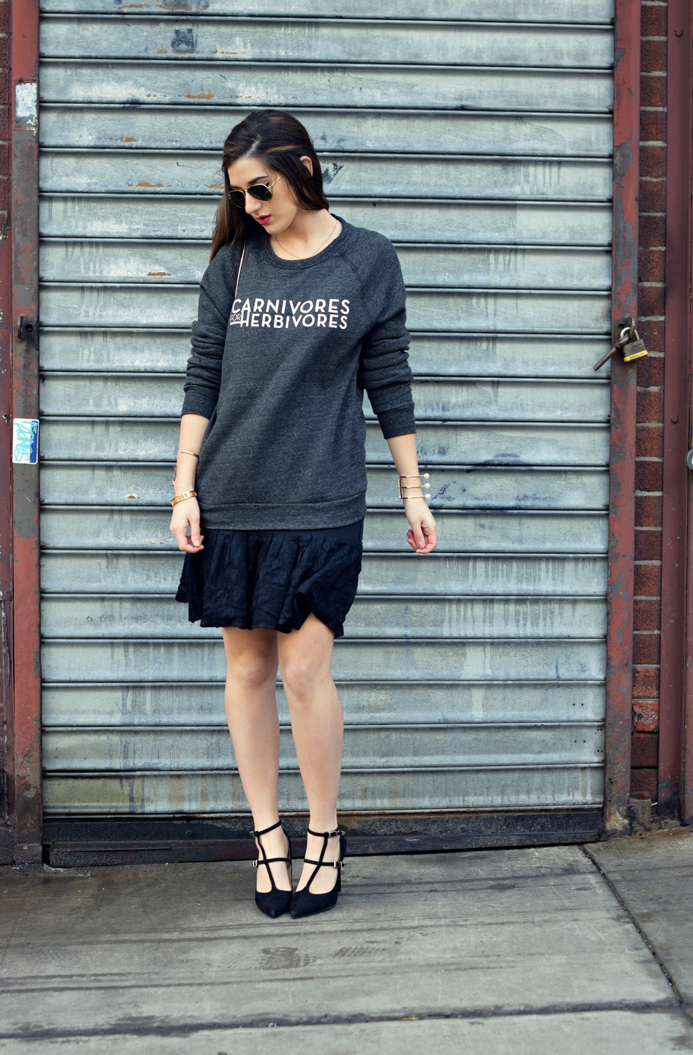 Carnivores For Herbivores Fauxgerty Louboutins & Love Fashion Blog Esther Santer NYC Street Style Blogger Animal Lover Cruelty Free Suede Vegan Leather RayBan Aviators Sunglasses Grey Sweatshirt Lace Skirt Girl Women OOTD Outfit USA Outerwear Shop.jpg