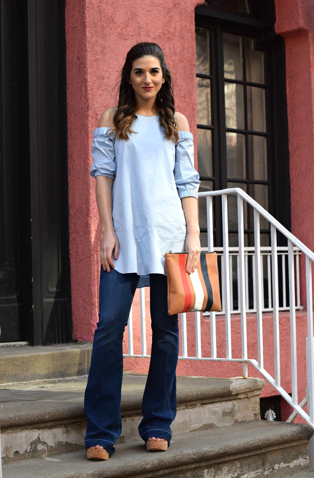 Cold Shoulder Tibi Top Frame Denim Louboutins & Love Fashion Blog Esther Santer NYC Fashion Blogger Jeans Designer Outfit OOTD Trunk Club Stylist Dolce Vita Platform Sandals Women Girl Online Shopping Inspo Inspiration Girly Buy Shoes Pretty Clutch.jpg