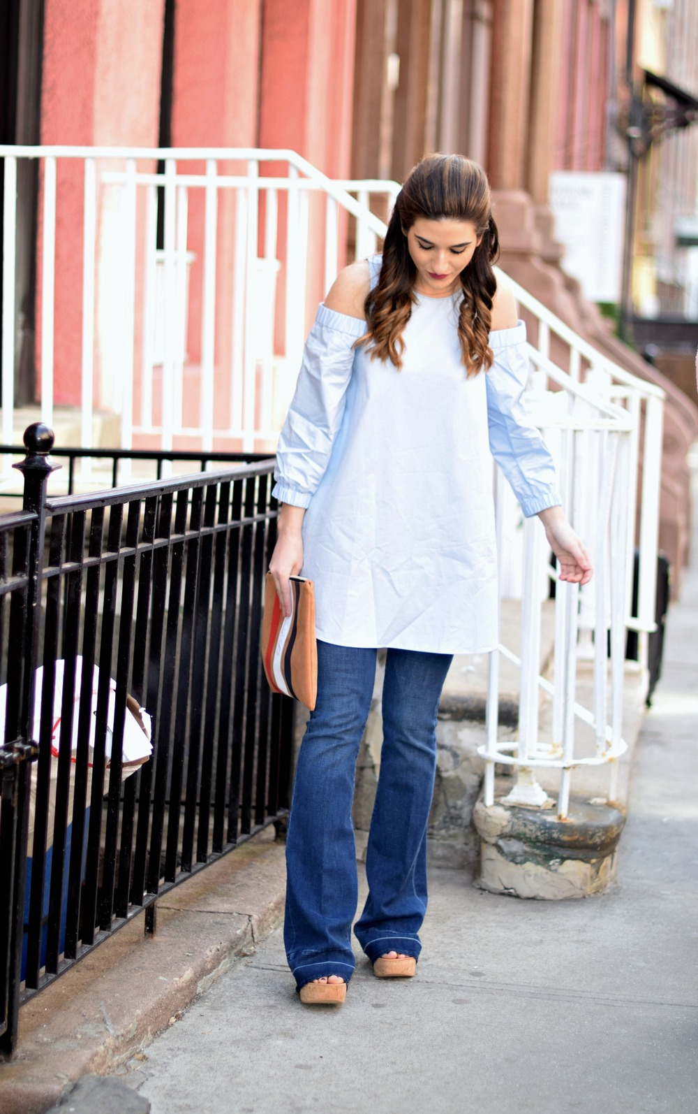 Cold Shoulder Tibi Top Frame Denim Louboutins & Love Fashion Blog Esther Santer NYC Fashion Blogger Jeans Designer Outfit OOTD Trunk Club Stylist Online Shopping Dolce Vita Platform Sandals Girl Women Inspiration Inspo Buy Shoes Pretty Clutch Preppy.jpg