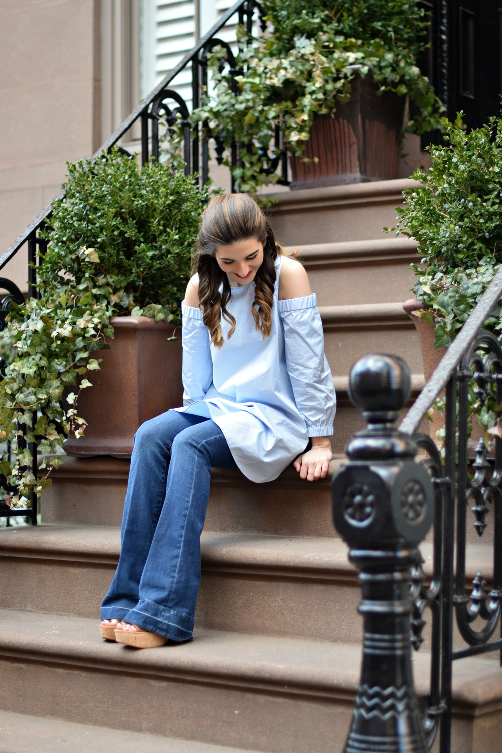Cold Shoulder Tibi Top Frame Denim Louboutins & Love Fashion Blog Esther Santer NYC Fashion Blogger Jeans Designer Outfit OOTD Trunk Club Stylist Online Shopping Dolce Vita Platform Sandals Girl Women Shoes Inspo Buy Pretty Inspiration Clutch Preppy.jpg