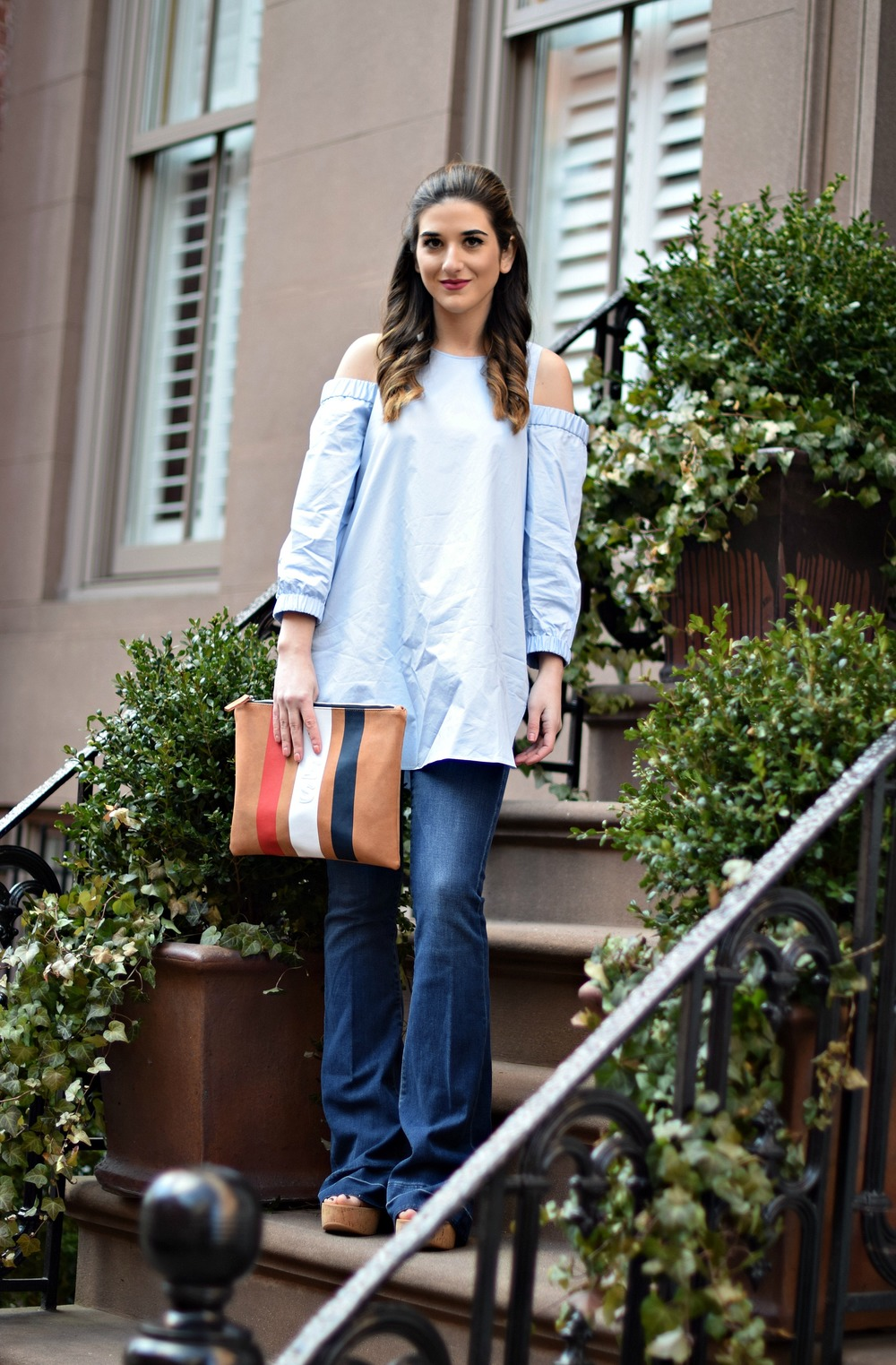 Cold Shoulder Tibi Top Frame Denim Louboutins & Love Fashion Blog Esther Santer NYC Fashion Blogger Jeans Designer Outfit OOTD Trunk Club Stylist Online Shopping Dolce Vita Platform Sandals Women Girl Inspiration Inspo Buy Shoes Pretty Girly Clutch.jpg