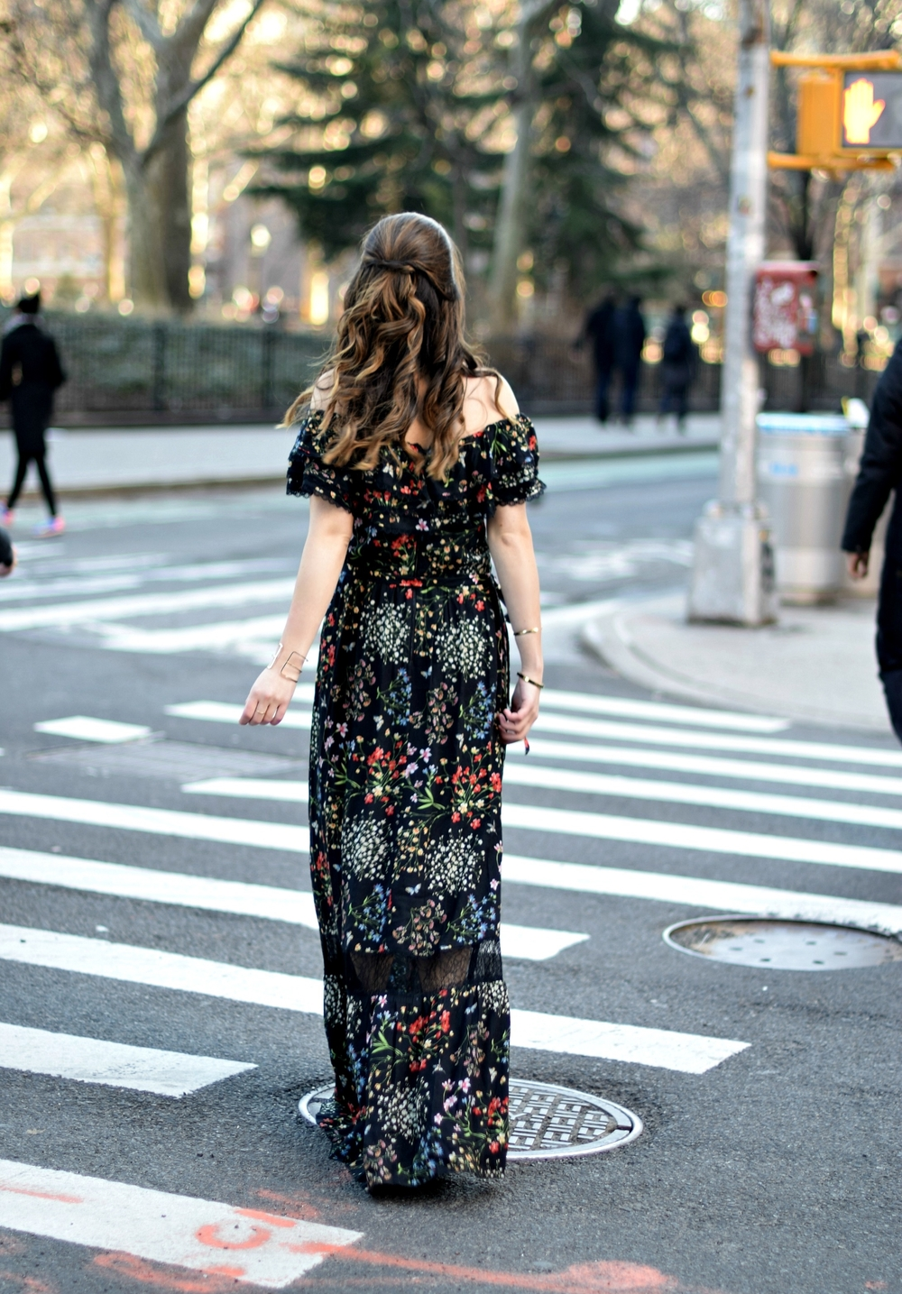 Alice Olivia Floral Dress Louboutins & Love Fashion Blog Esther Santer NYC Street Style Blogger Outfit OOTD Trunk Club Lydell Hair Brunette Model New York City Photoshoot Spring Summer Bracelet Gold Choker Jewelry Beautiful Pretty Shoulder Shoes Inspo.jpg