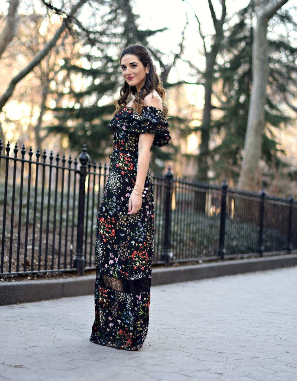 Alice Olivia Floral Dress Louboutins & Love Fashion Blog Esther Santer NYC Street Style Blogger Outfit OOTD Trunk Club Lydell Hair Brunette Model New York City Photoshoot Spring Summer Bracelet Gold Choker Jewelry Pretty Beautiful Shoulder Shoes Inspo.jpg