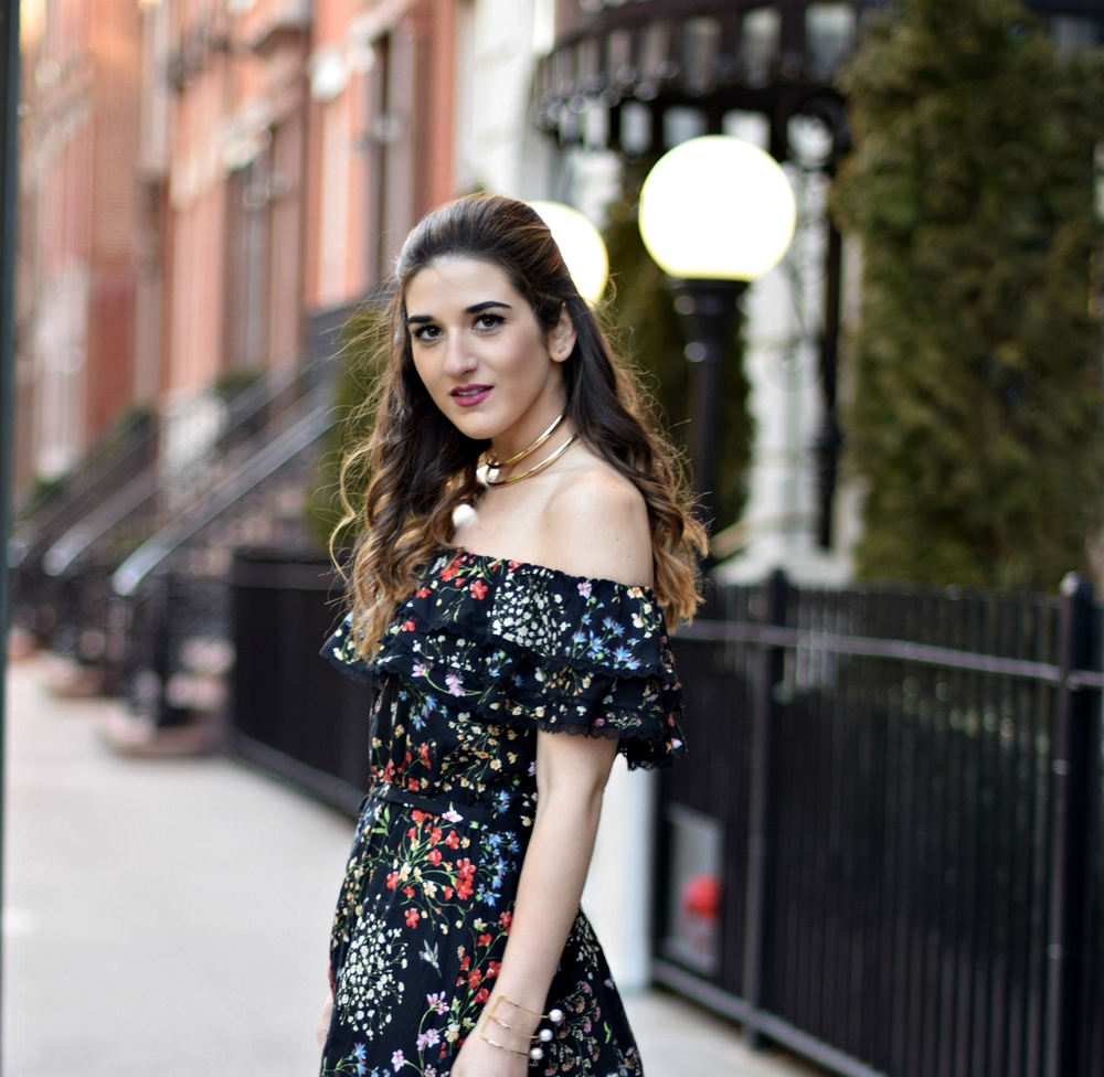 Alice Olivia Floral Dress Louboutins & Love Fashion Blog Esther Santer NYC Street Style Blogger Outfit OOTD Trunk Club Lydell Hair Brunette Model New York City Photoshoot Spring Summer Choker Bracelet Gold Jewelry Pretty Beautiful Inspo Shoulder Shoes.jpg