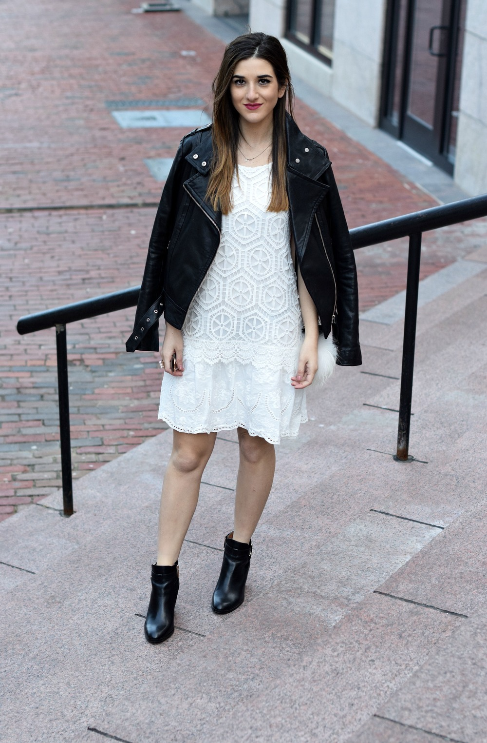 Desigual White Lace Dress Mackage Moto Jacket Louboutins & Love Fashion Blog Esther Santer NYC Street Style Blogger Outfit OOTD Black Booties Nordstrom Shoes Inspo Photoshoot Boston Leather Bag Pom Pom Fall Look Model Women Girl Beautiful Hair Pretty.jpg