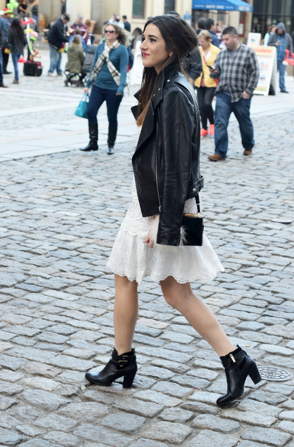 Desigual White Lace Dress Mackage Moto Jacket Louboutins & Love Fashion Blog Esther Santer NYC Street Style Blogger Outfit OOTD Black Booties Nordstrom Shoes Inspo Photoshoot Boston Leather Bag Pom Pom Model Girl Women Fall Look Hair Beautiful Pretty.jpg