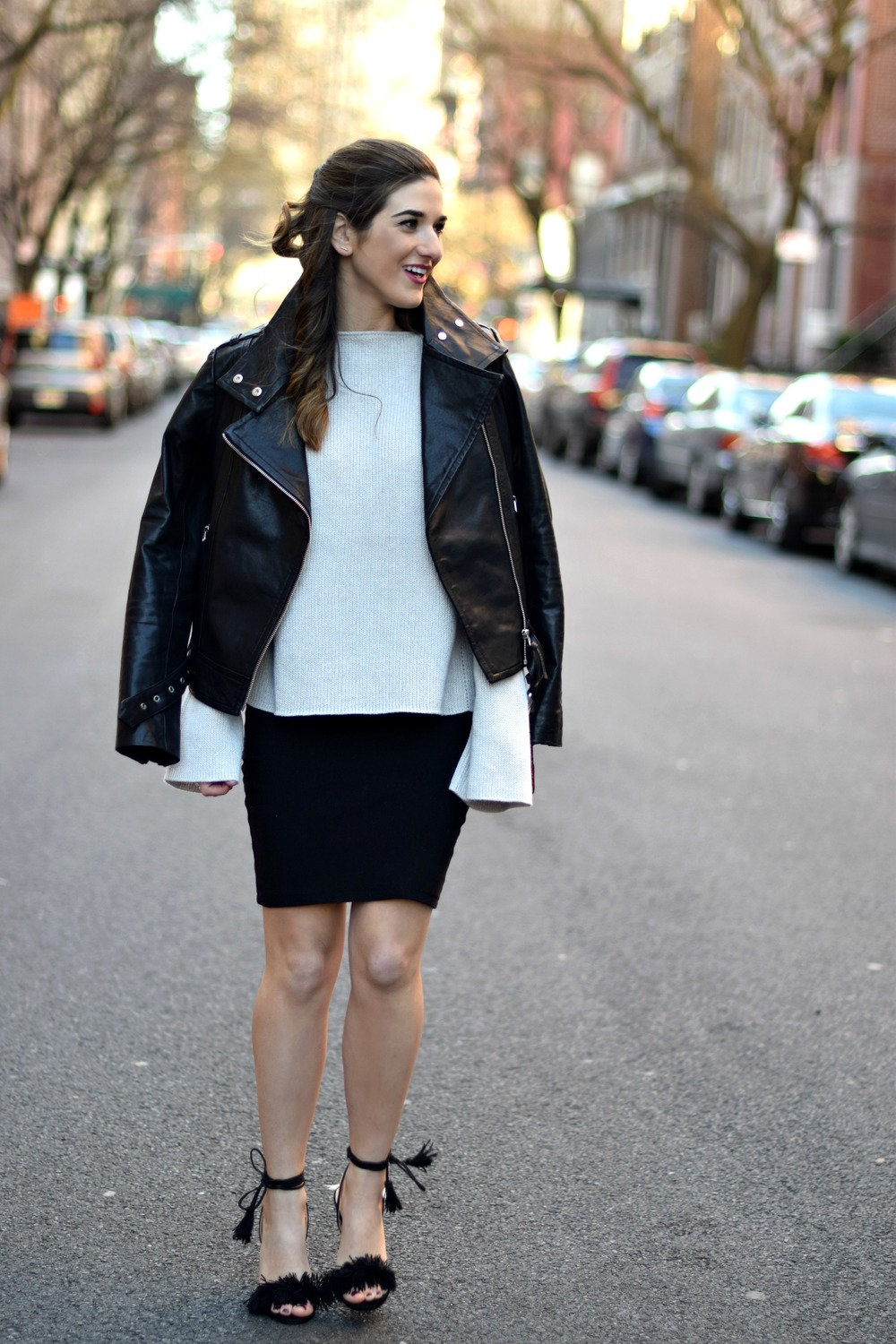 Ivanka Trump Fringe Sandals Mackage Moto Jacket Louboutins & Love Fashion  Blog Esther Santer NYC Street