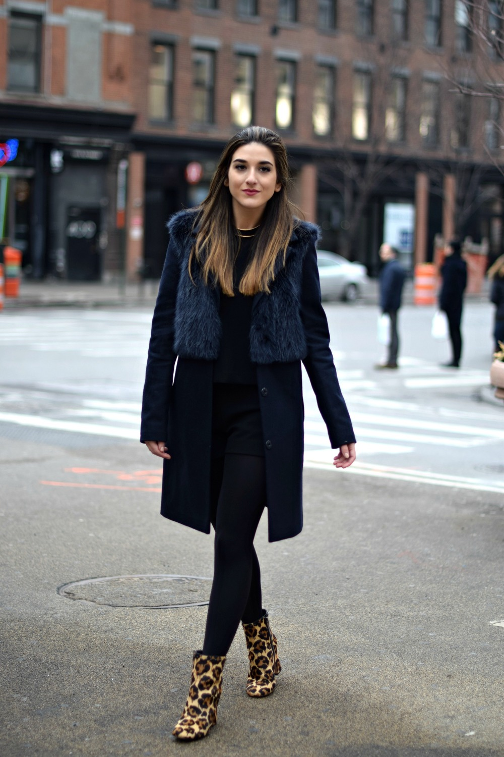 Navy Coat Coach Leopard Booties Louboutins & Love Fashion Blog Esther Santer NYC Street Style Blogger Outfit OOTD Fur Topshop Shopping Girl Women Swag Photoshoot Model Beautiful Winter Inspo NYFW Shoes Tights Ivanka Trump Soho Tote City Hair Lifestyle.jpg
