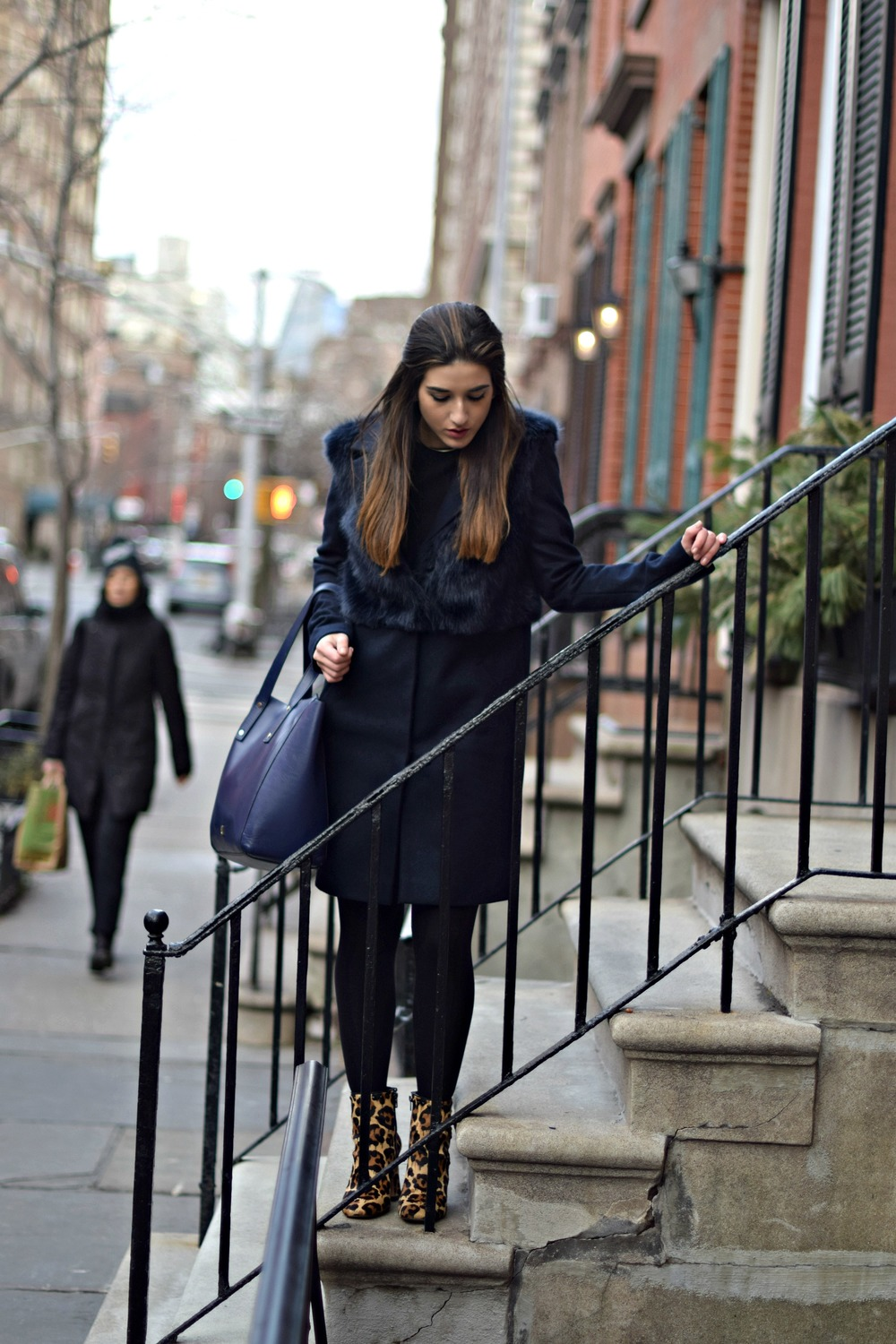 Navy Coat Coach Leopard Booties Louboutins & Love Fashion Blog Esther Santer NYC Street Style Blogger Outfit OOTD Fur Topshop Shopping Girl Women Swag Photoshoot Model Beautiful Winter Inspo NYFW Shoes Tights Ivanka Trump Soho Tote Hair City Lifestyle.jpg