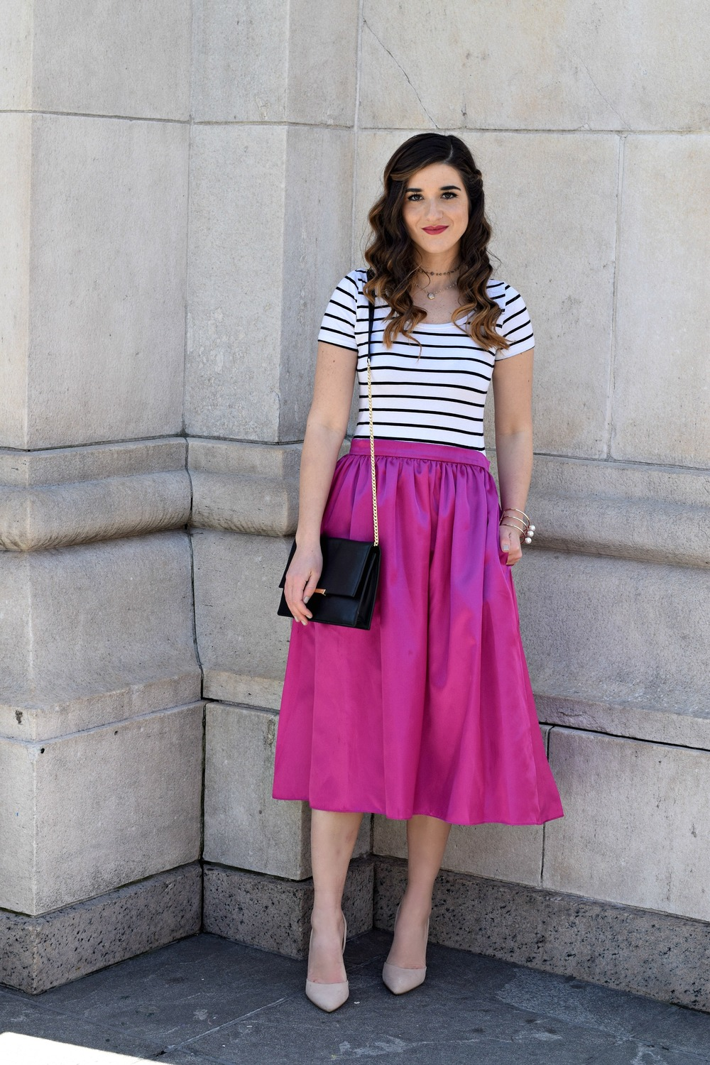 Fuchsia Party Skirt More Than Just Figleaves Louboutins & Love Fashion Blog Esther Santer NYC Street Style Blogger Outfit OOTD Midi Photoshoot Girl Women Striped Tee Ivanka Trump Black Purse Gold Jewelry Bracelet Choker Nude Shoes Heels Steve Madden.jpg