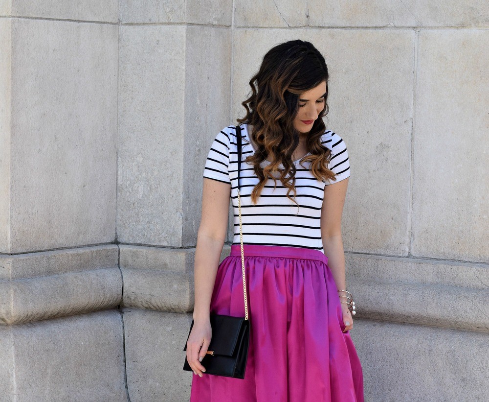 Fuchsia Party Skirt More Than Just Figleaves Louboutins & Love Fashion Blog Esther Santer NYC Street Style Blogger Outfit OOTD Midi Photoshoot Girl Women Striped Tee Ivanka Trump Black Purse Gold Jewelry Choker Bracelet Nude Heels Shoes Steve Madden.jpg