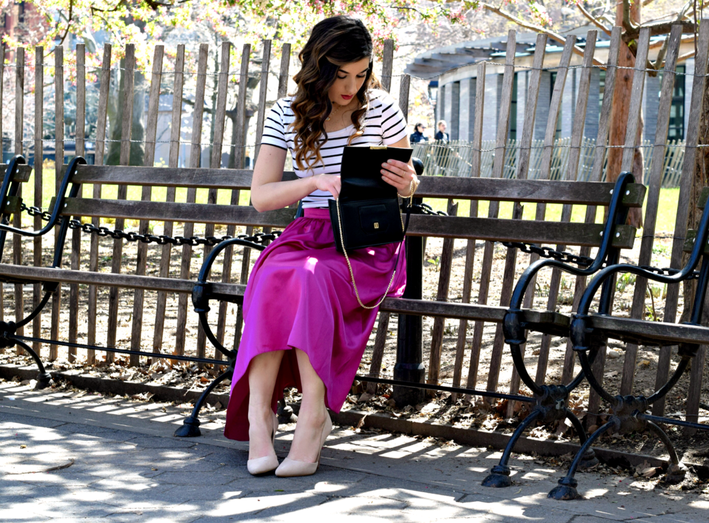 Fuchsia Party Skirt More Than Just Figleaves Louboutins & Love Fashion Blog Esther Santer NYC Street Style Blogger Outfit OOTD Midi Photoshoot Girl Women Striped Tee Ivanka Trump Black Purse Choker Bracelet Gold Jewelry Nude Heels Shoes Steve Madden.jpg
