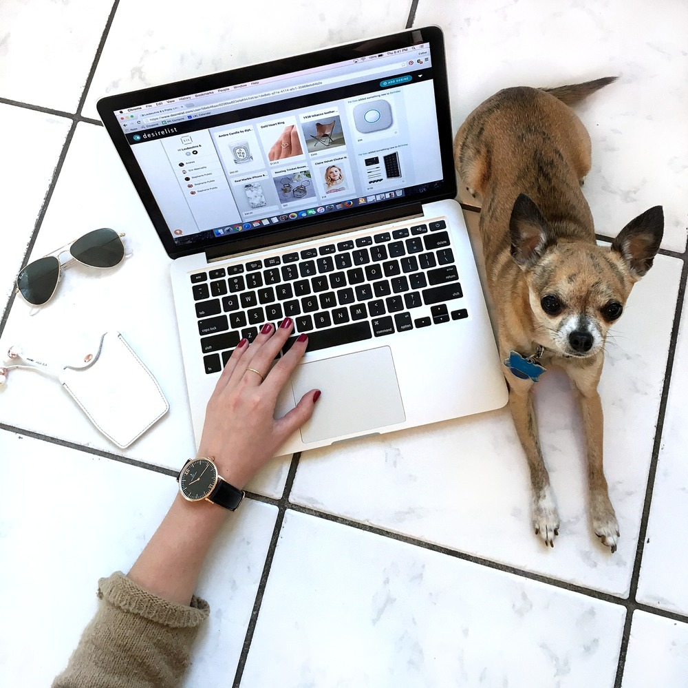The Art Of Gifting Desirelist Louboutins & Love Fashion Blog Esther Santer NYC Street Style Blogger Chihuahua Dog Diptyque Scented Candle Gold Heart Ring Marble Phone Case Sunglasses Ray-Ban Headphones Choker Girl Women Present Website Watch Friends.jpg