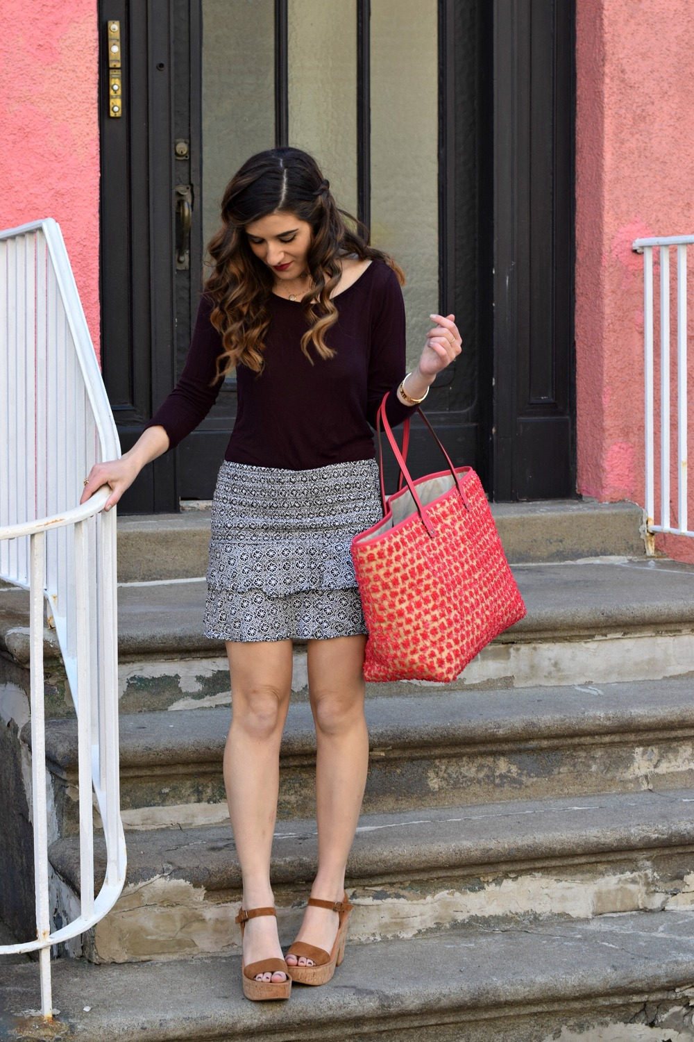 Printed Mini Skirt Henri Bendel Pom Pom Tote Louboutins & Love Fashion Blog Esther Santer NYC Street Style Blogger Outfit OOTD Summer Look Pretty Beautiful Inspo Photoshoot Hair Girl Women Shoes Wedges Sandals Colorful Pink Purple Shopping Beach Bag.jpg
