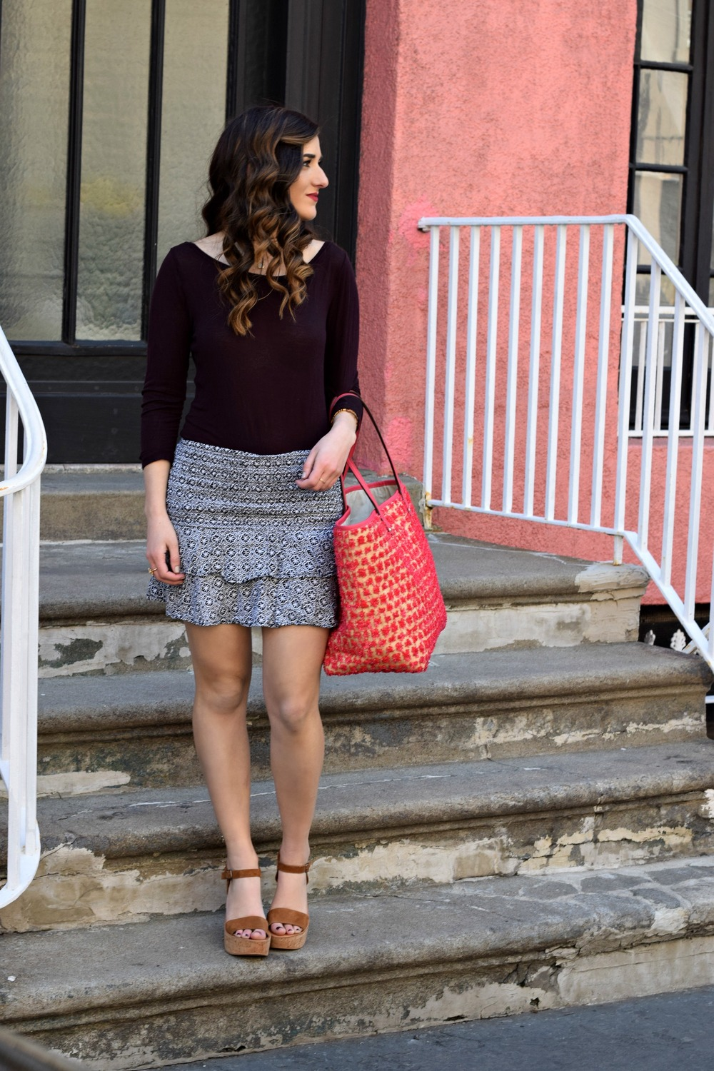 Printed Mini Skirt Henri Bendel Pom Pom Tote Louboutins & Love Fashion Blog Esther Santer NYC Street Style Blogger Outfit OOTD Summer Look Pretty Beautiful Inspo Photoshoot Hair Girl Women Shoes Wedges Sandals Pink Purple Colorful Shopping Beach Bag.jpg