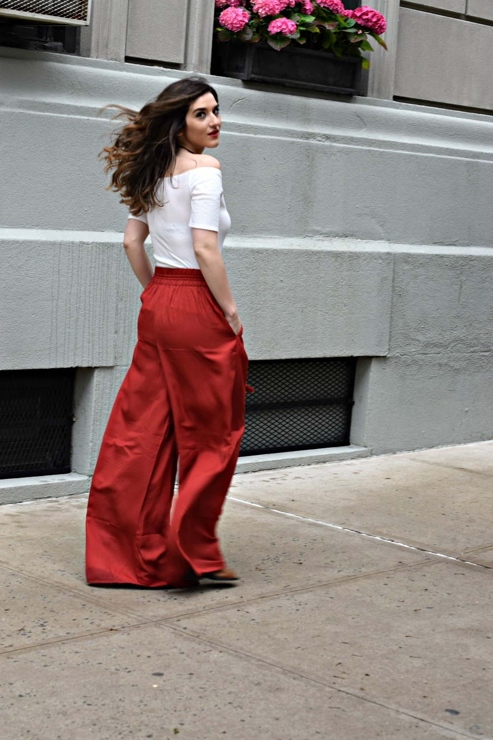 New Haircut Red Palazzo Pants Louboutins & Love Fashion Blog Esther Santer NYC Street Style Blogger Outfit OOTD Colorful Choker ELAHN Jewels Jewelry Cold Shoulder White Top Girl Women Pretty Shop New York City Model Inspo Hair Summer Spring Photoshoot.jpg