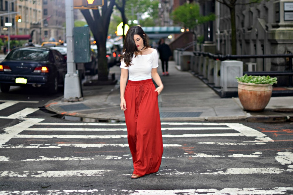 New Haircut Red Palazzo Pants Louboutins & Love Fashion Blog Esther Santer NYC Street Style Blogger Outfit OOTD Colorful Choker ELAHN Jewels Jewelry Cold Shoulder White Top Girl Women Pretty Shop Photoshoot Model New York City Summer Spring Hair Inspo.jpg