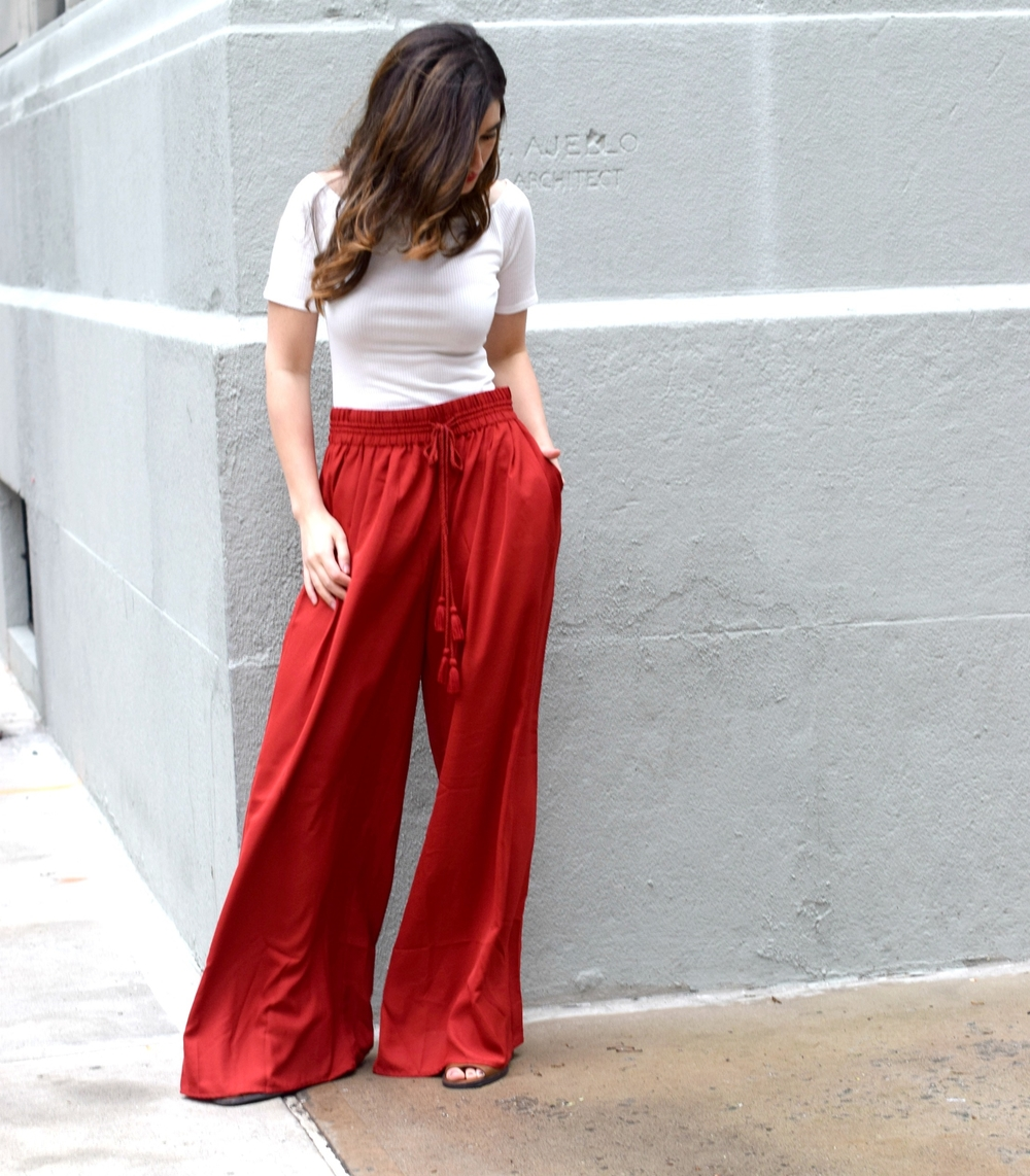 New Haircut Red Palazzo Pants Louboutins & Love Fashion Blog Esther Santer NYC Street Style Blogger Outfit OOTD Colorful Choker ELAHN Jewels Jewelry Cold Shoulder White Top Girl Women Pretty Shop New York City Model Hair Inspo Summer Spring Photoshoot.jpg