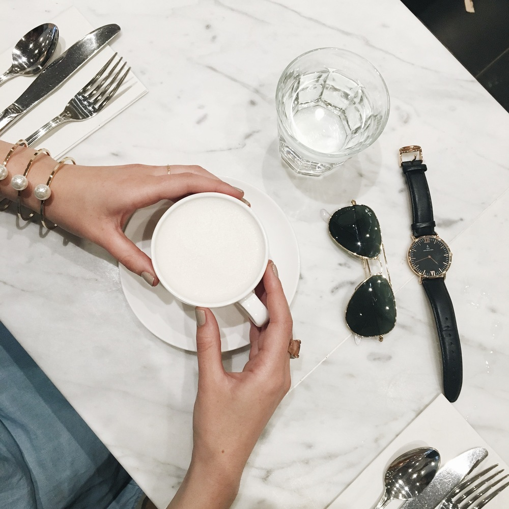 Coffee Talk Madame Kayser Louboutins & Love Fashion Blog Esther Santer NYC Street Style Blogger Flatlay Kapten & Son Black Watch Ray-Ban Aviators Jewelry Pearl Gold Bracelet Photography Chai Latte Photo Restaurant Blogger Date Accessories Hand Nom Yum.JPG