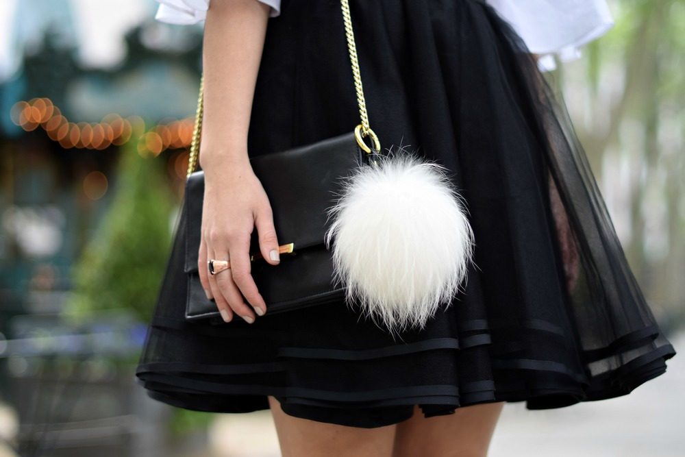 Naomy Stern Couture Custom Tulle Skirt White Heart Louboutins & Love Fashion Blog Esther Santer NYC Street Style Blogger Christian Louboutin Outfit OOTD Elegant Model Photoshoot Cold Shoulder Top Fancy Ivanka Trump Purse Bag Pom Pom Girl Pretty Choker.JPG