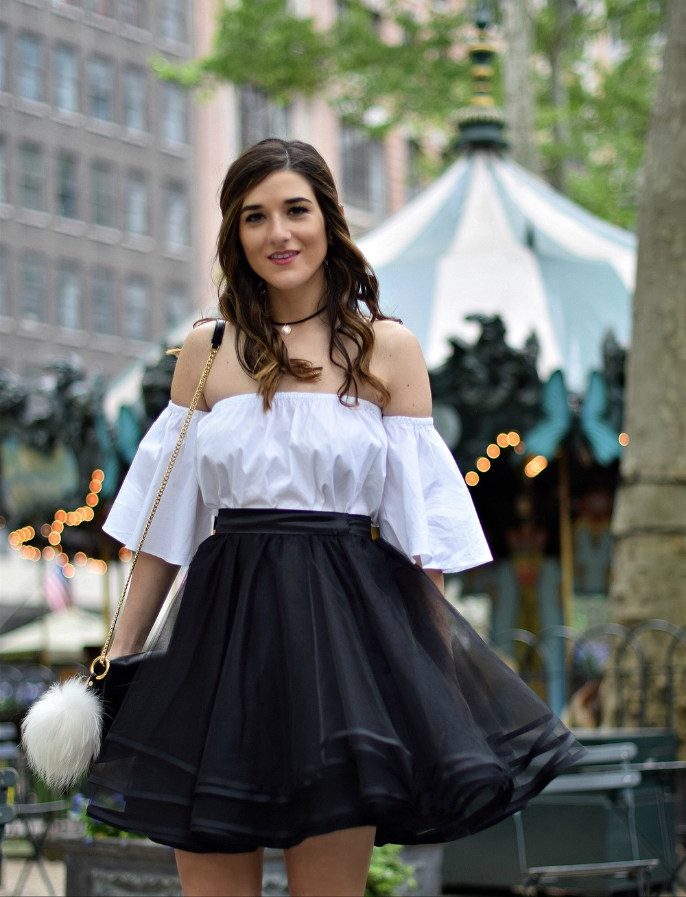 Naomy Stern Couture Custom Tulle Skirt White Heart Louboutins & Love Fashion Blog Esther Santer NYC Street Style Blogger Christian Louboutin Outfit OOTD Elegant Model Photoshoot Fancy Cold Shoulder Ivanka Trump Bag Purse Pom Pom Girl Pretty Choker.JPG