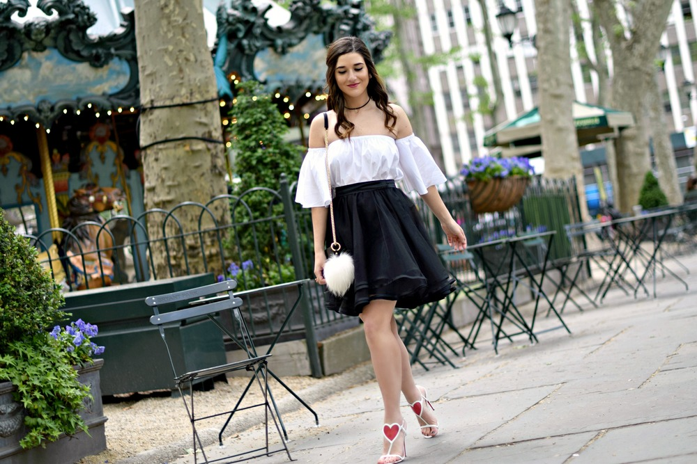 Naomy Stern Couture Custom Tulle Skirt White Heart Louboutins & Love Fashion Blog Esther Santer NYC Street Style Blogger Christian Louboutin Outfit OOTD Elegant Model Photoshoot Fancy Cold Shoulder Ivanka Trump Girl Bag Purse Pom Pom Pretty Choker.JPG
